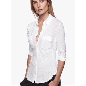 James Perse White Shirt Button Down Size 3